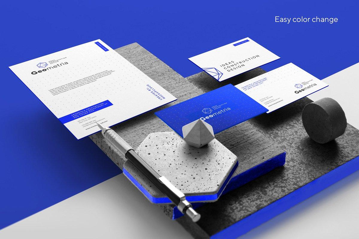 时尚高端房地产行业品牌VI样机展示样机Geometria Branding Mockup