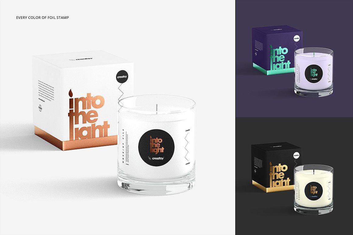 蜡烛香薰玻璃杯包装设计展示样机 Candle Mockup Set