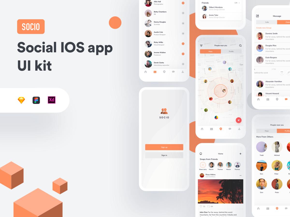 社交IOS app展示模板 ui kitSocio social IOS app ui kit