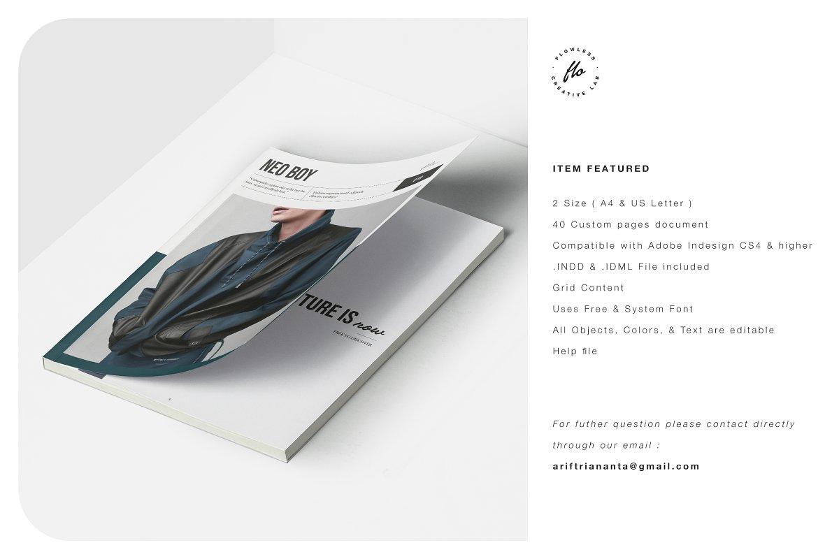 男士服装杂志画册展示模板NEO BOY Fashion Magazine & Lookbook