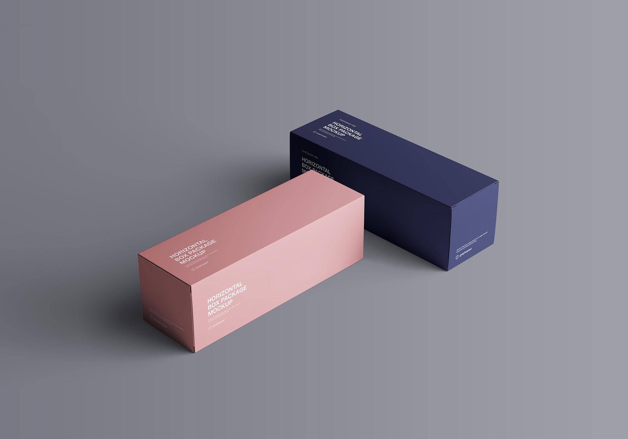 简约包装护肤品长型包装展示样机 Horizontal Package Box Mockup
