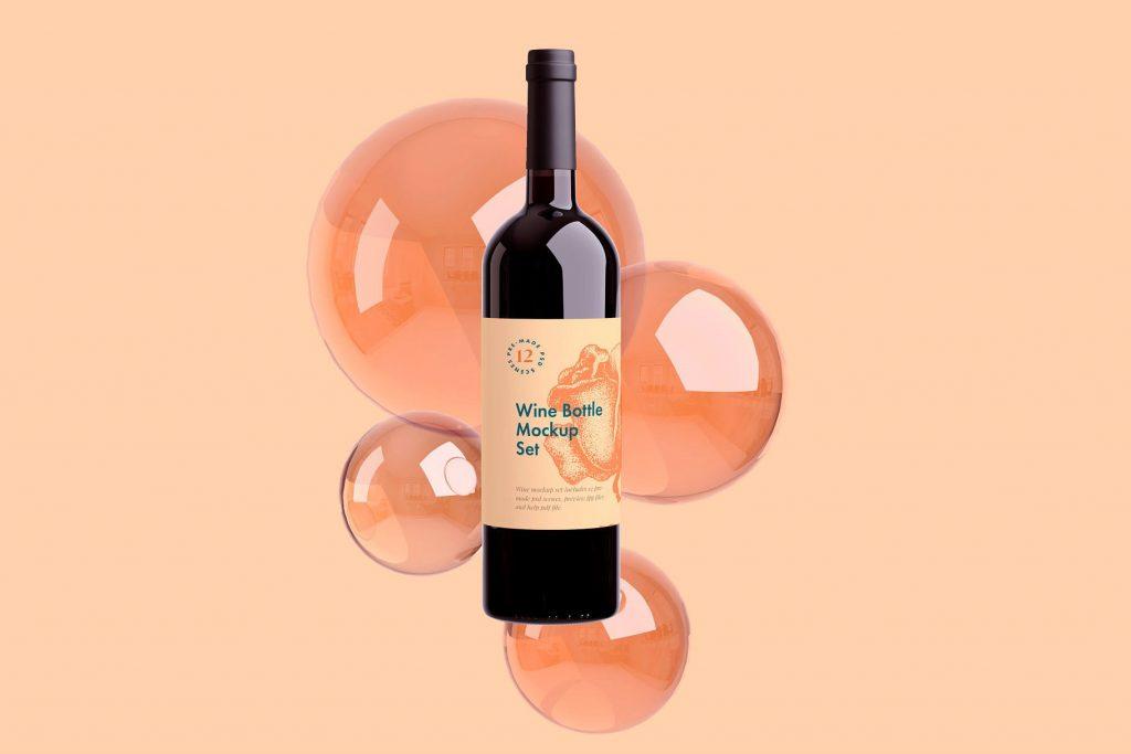 高端红酒标签样机贴图 Wine Bottle Sticker Display Prototype