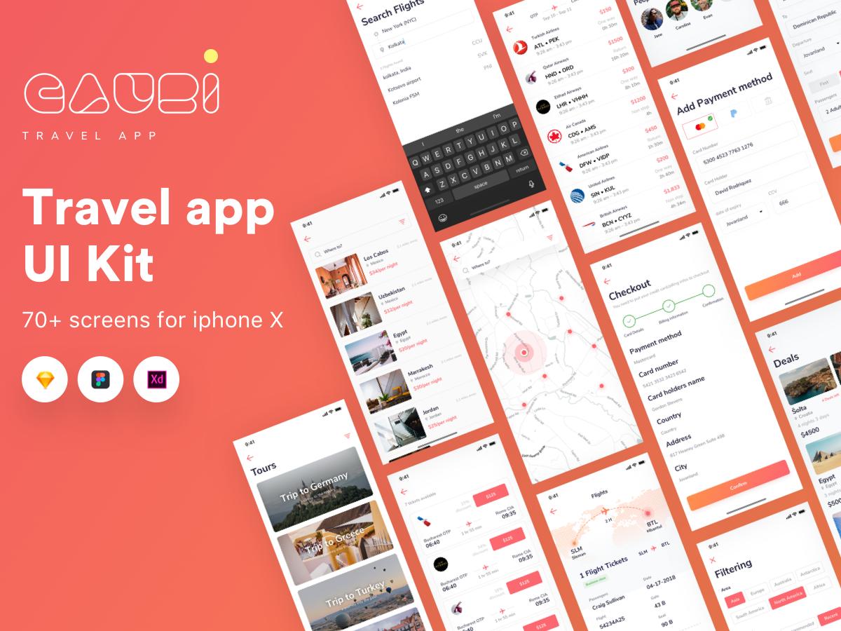 旅游类UIkit  Gauri Travel app IOS ui kit