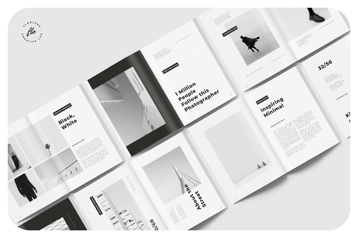 黑白极简风设计风格杂志画册模板展示