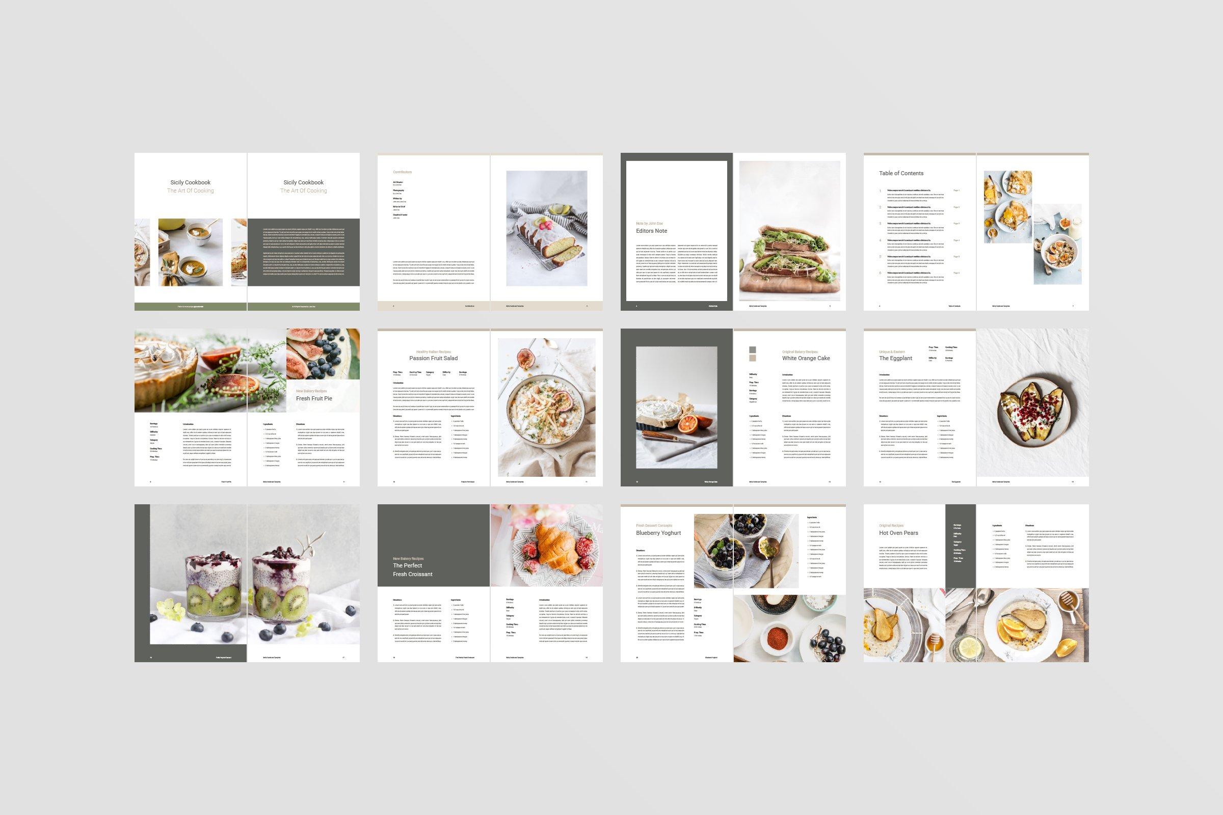 欧美菜单画册集模板 Sicily Cookbook