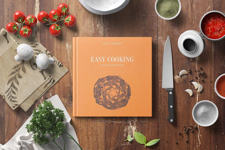 美食类精装书籍展示样机 Square Hard Cover Cook Book Mockup