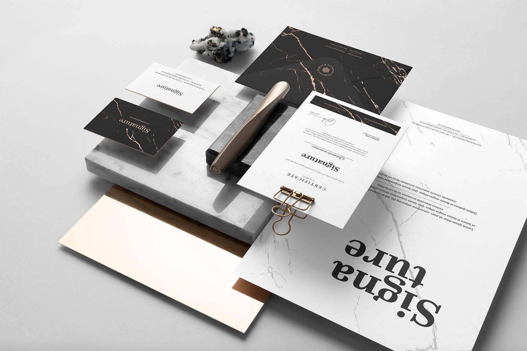 精致高端品牌设计展示文具文件样机signature-branding-mockup-vol-1-3WZRH8-2019-03-13