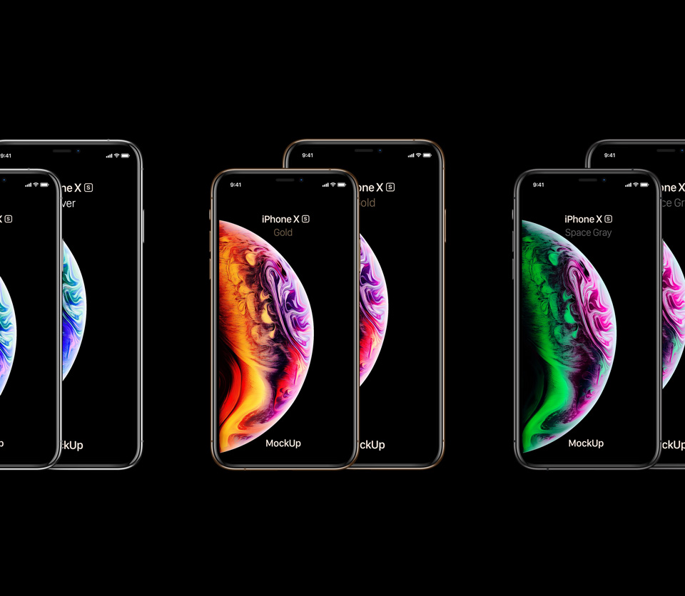 iPhone-Xs-all-sizes-&-colors-Mockup展示手机样机