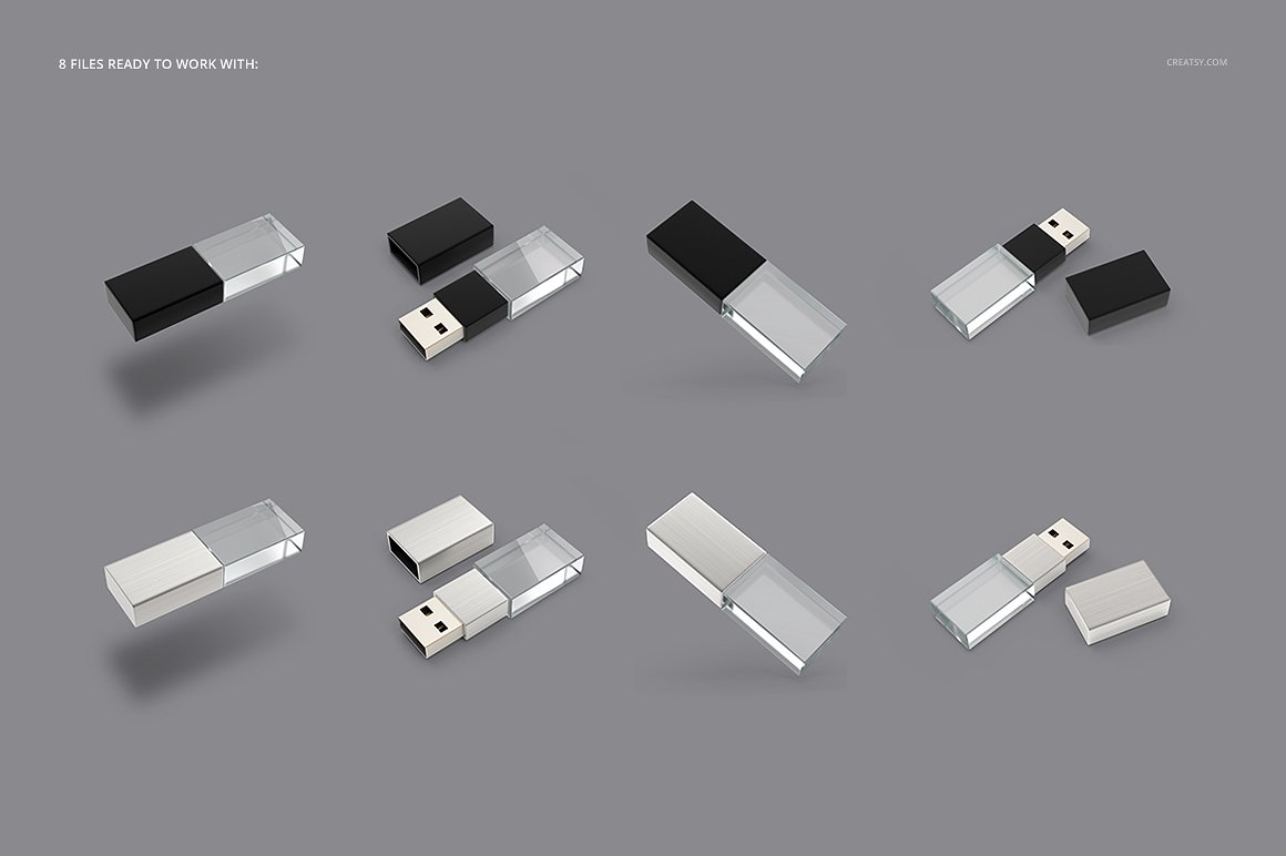 优盘展示样机 Acrylic USB Drive Mockup Set