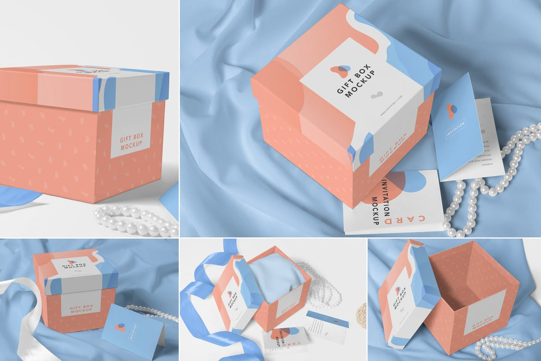 橘色华丽设计礼品盒不同角度展示样机Luxury Gift Box Mockups