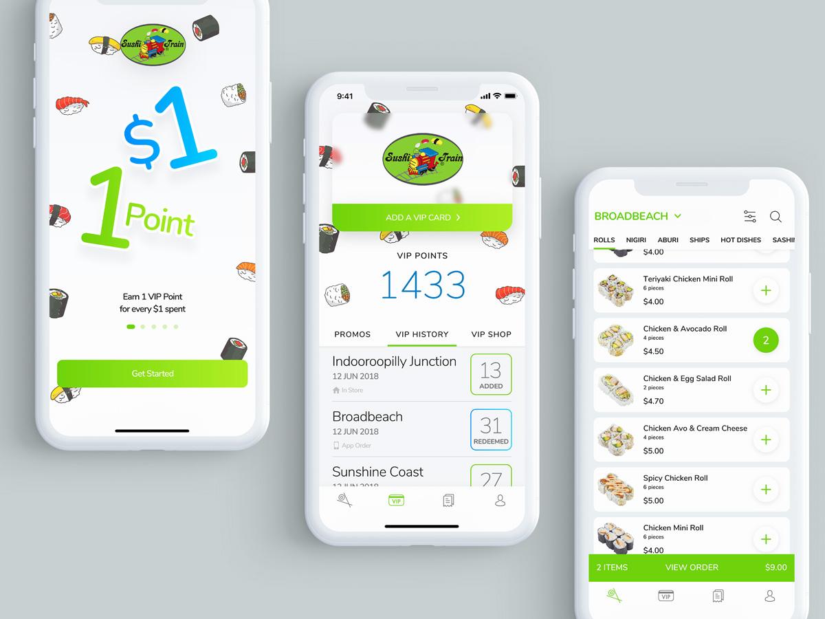 餐饮外卖APP绿色 UI界面设计素材Sushi Train - Booking & Ordering App