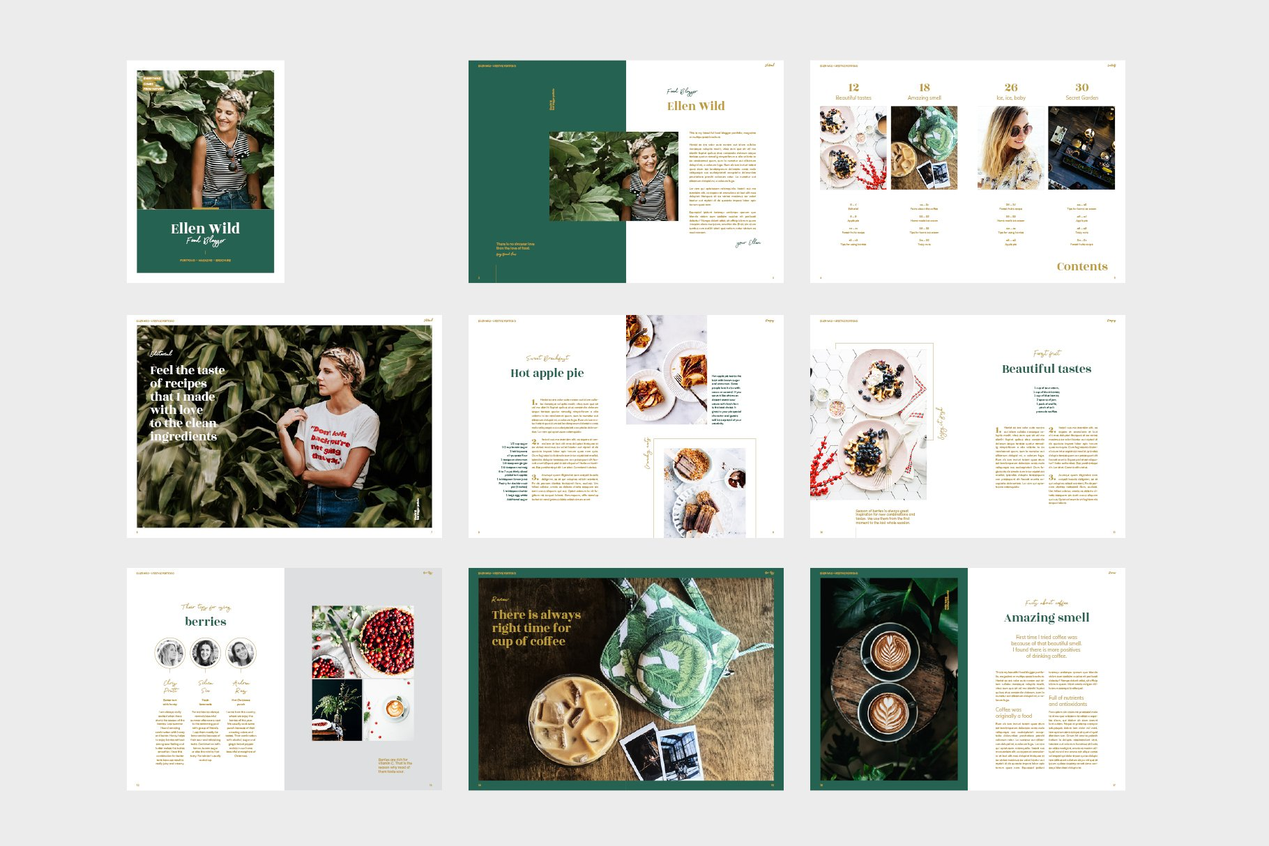 绿色烹饪生活画册模板 Green Duo Pack Magazine Templates