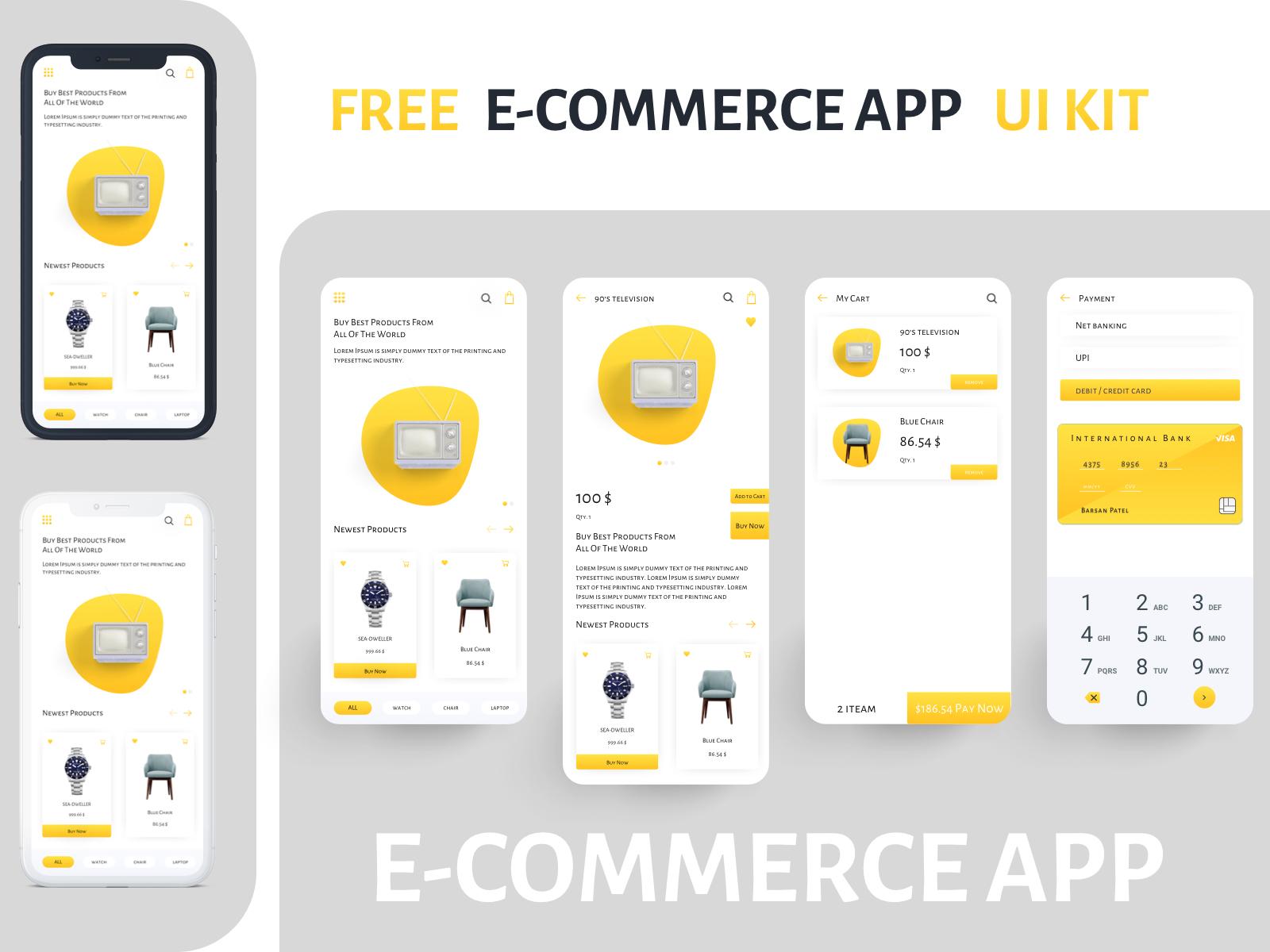 购物APP电子商务 UI界面设计E-commerce App UI KIT 黄色