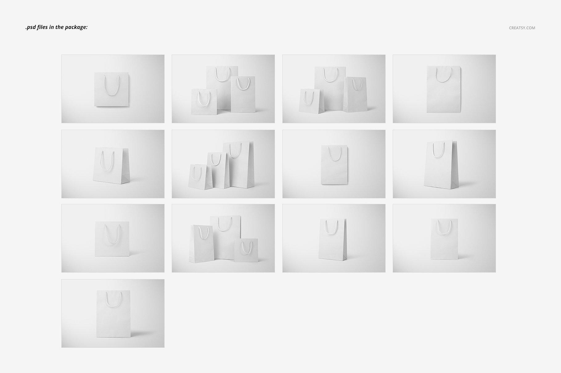手提袋样机PSD智能贴图模板 Paper Bags Mockup (gifting edition)