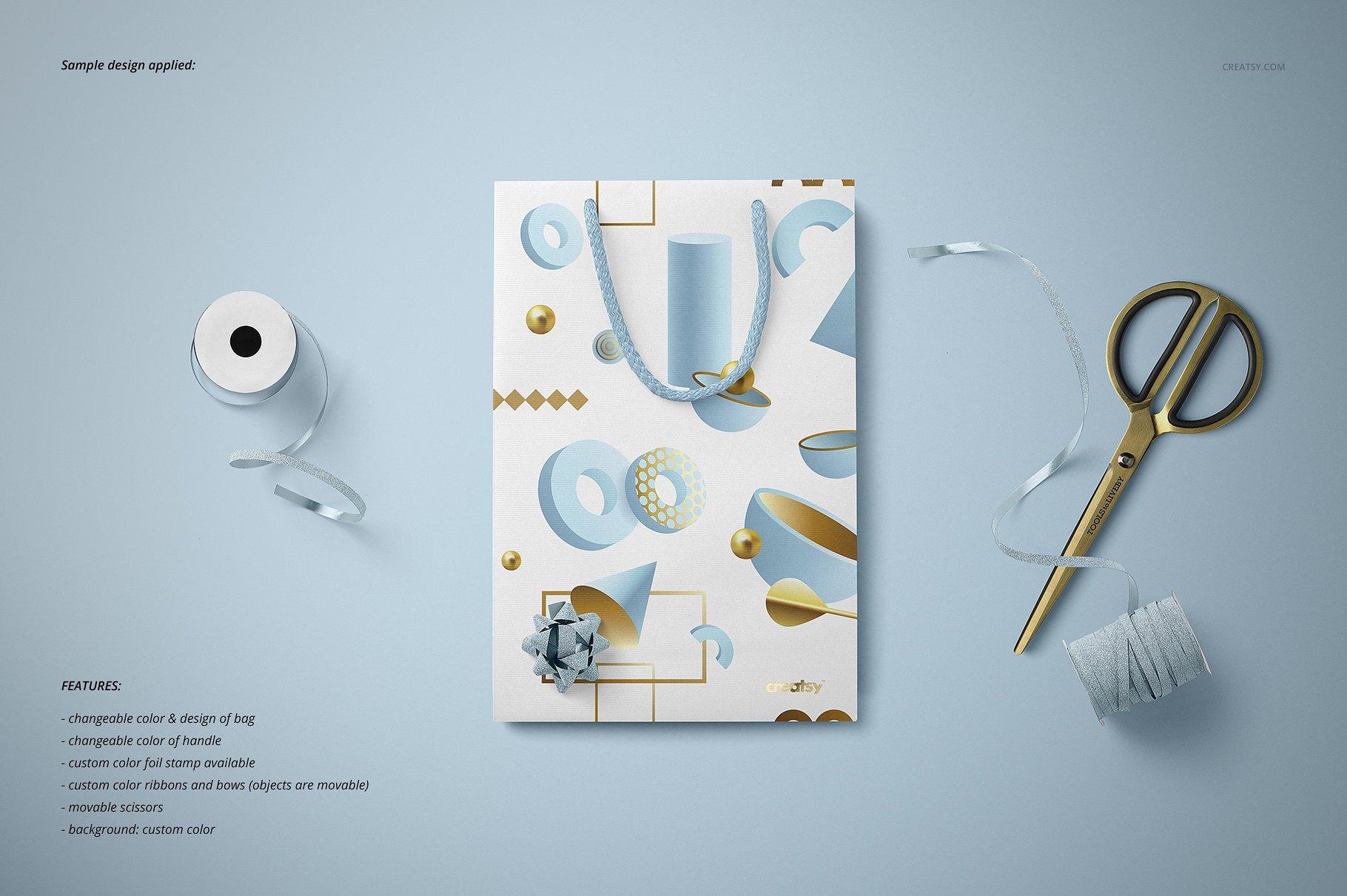 手提袋样机PSD智能贴图模板 Paper Bags Mockup (gifting edition)插图(13)