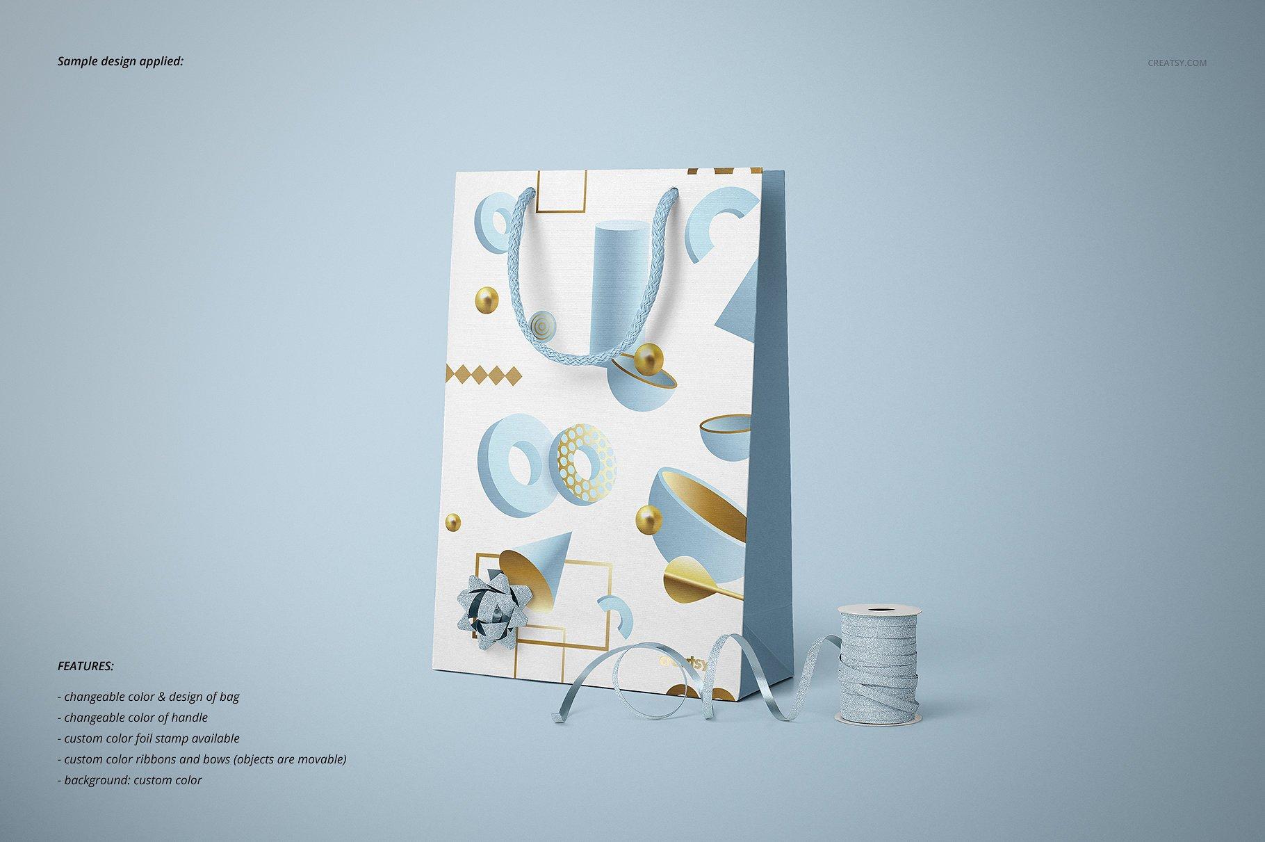手提袋样机PSD智能贴图模板 Paper Bags Mockup (gifting edition)插图(14)