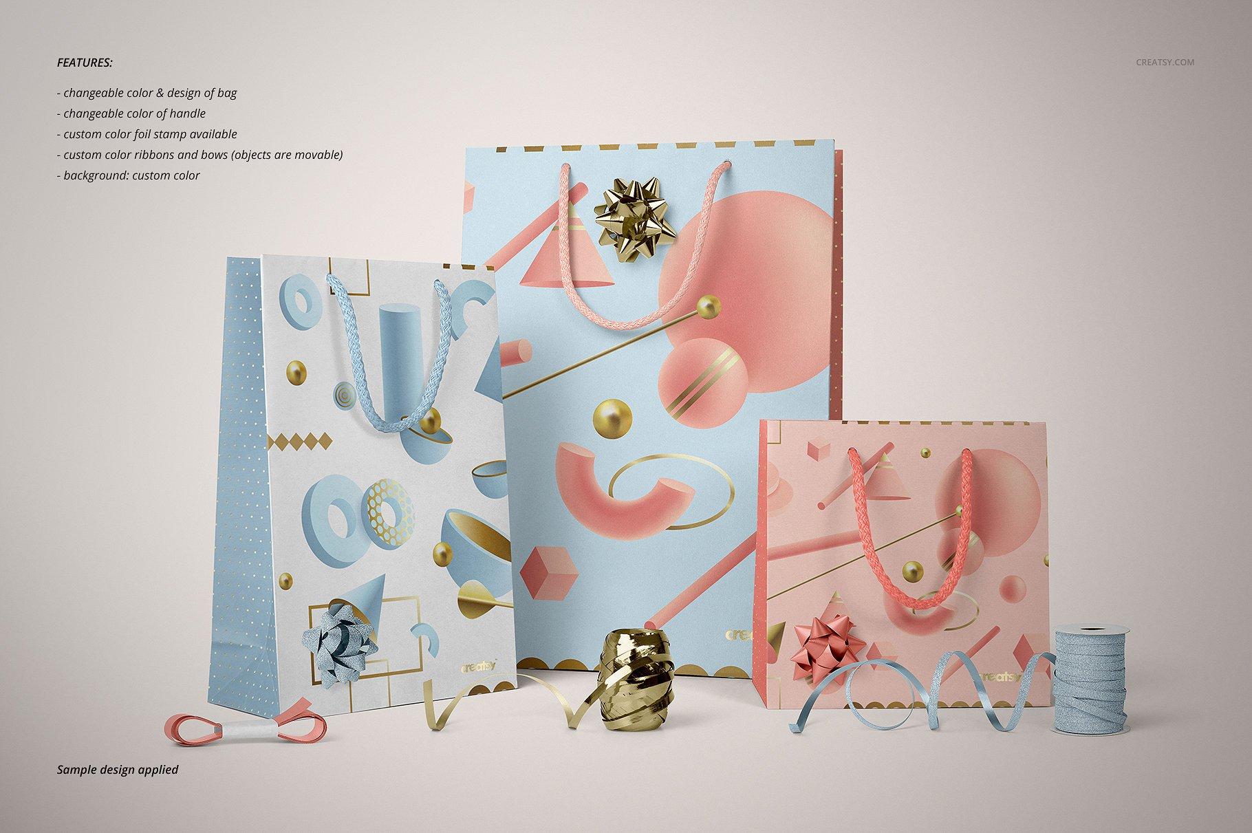 手提袋样机PSD智能贴图模板 Paper Bags Mockup (gifting edition)插图(17)