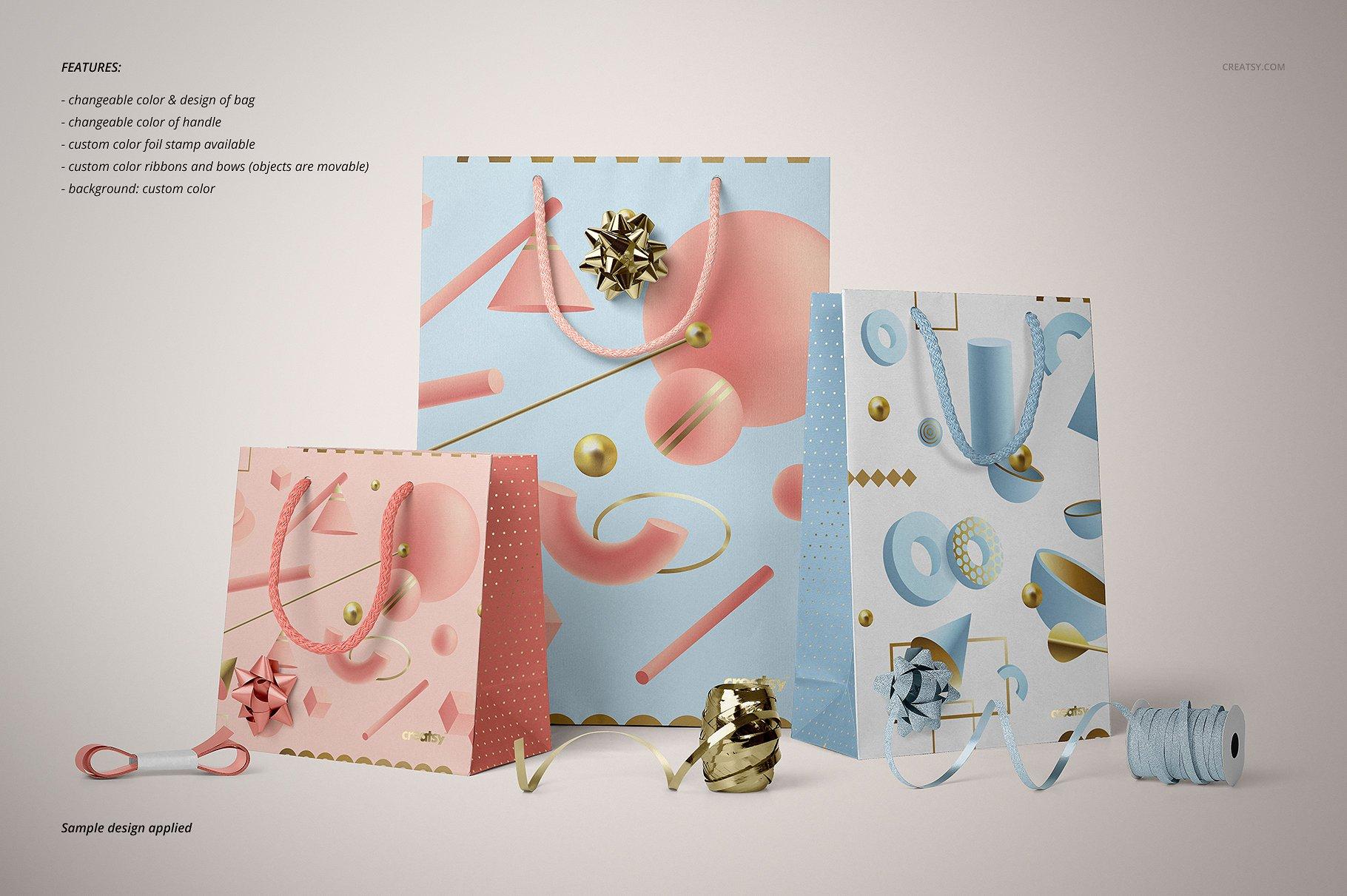 手提袋样机PSD智能贴图模板 Paper Bags Mockup (gifting edition)插图(18)