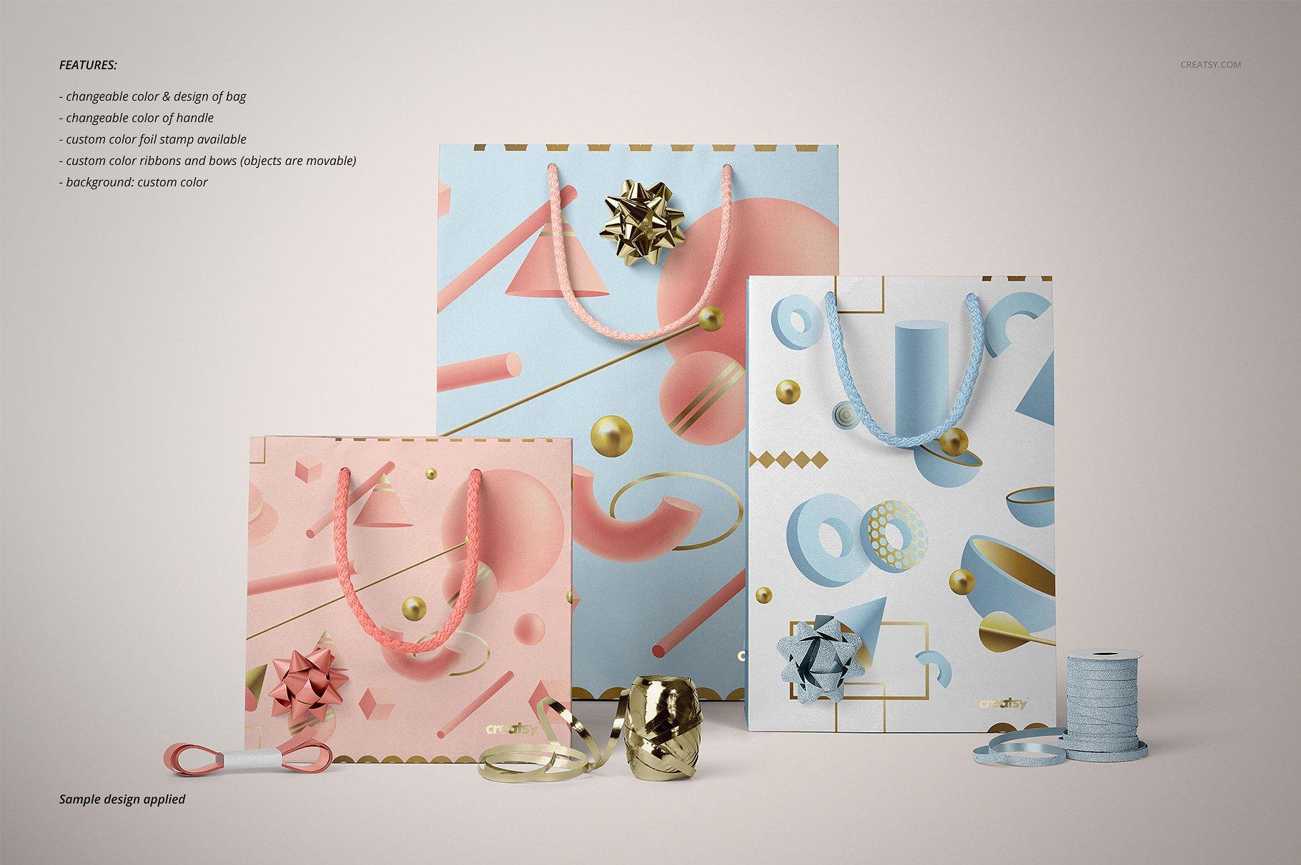 手提袋样机PSD智能贴图模板 Paper Bags Mockup (gifting edition)插图(19)