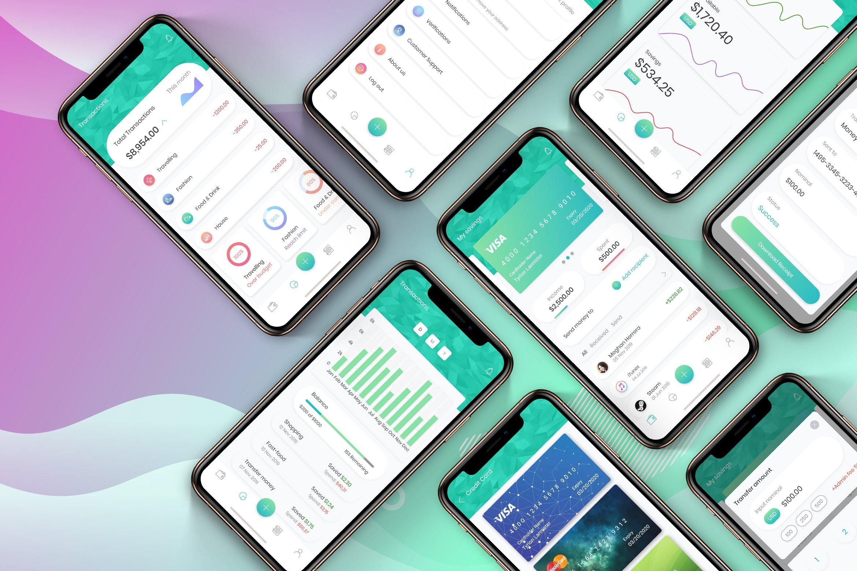 一套绿色金融行业APP Financial App UI Mobile Kit 2 - H