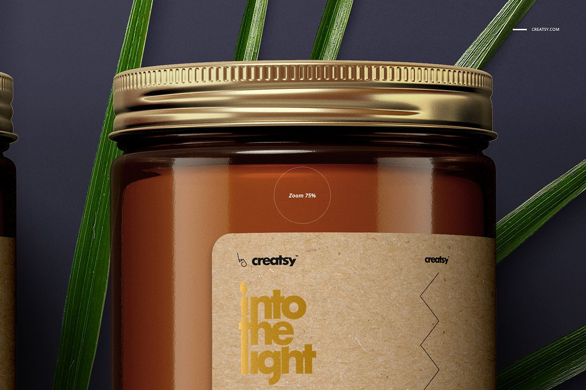 暖色蜡烛香薰包装设计展示样机 Amber Jar Candle Mockup Set