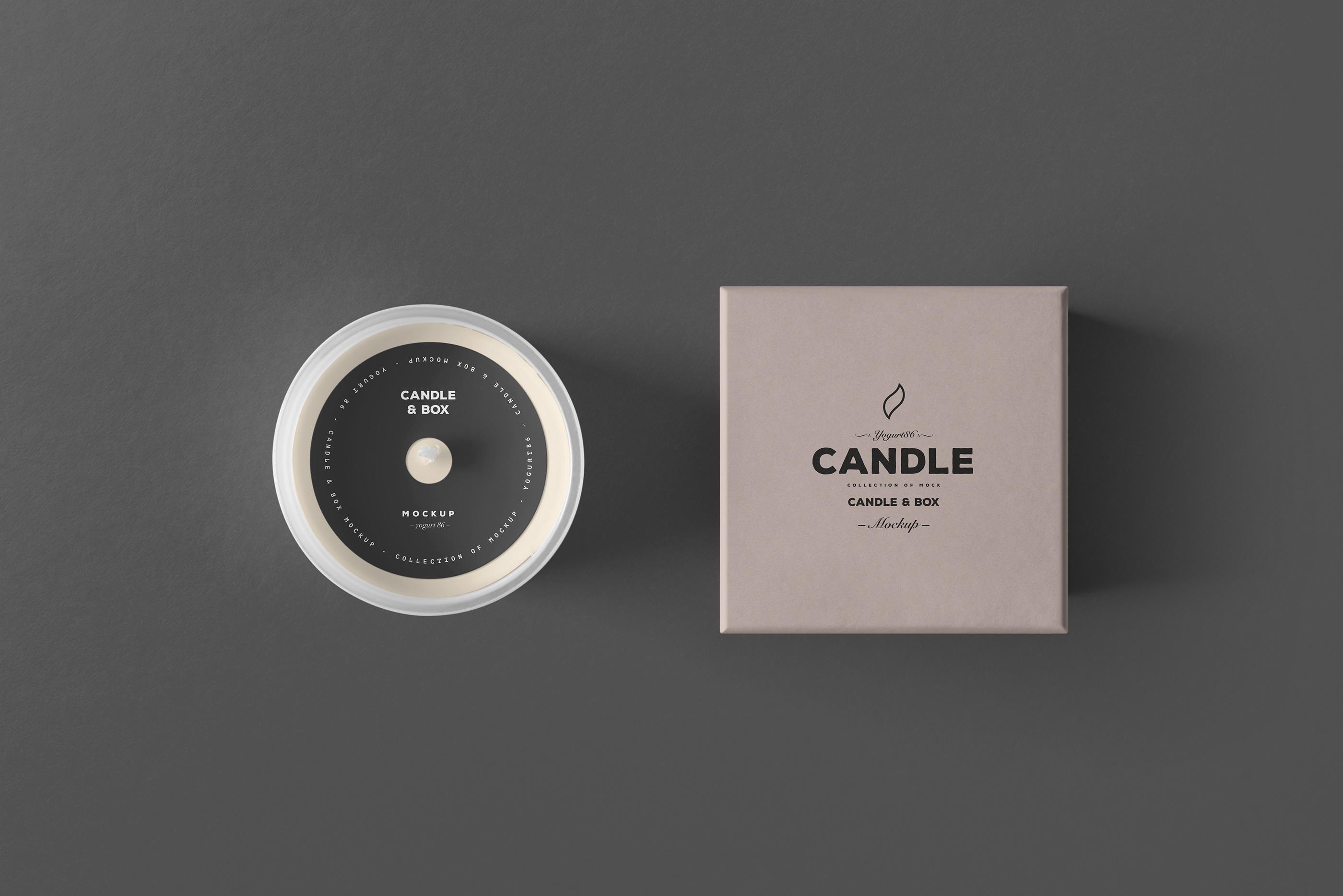 时尚的蜡烛香薰玻璃杯包装设计展示样机 Candle & Box Mock-up