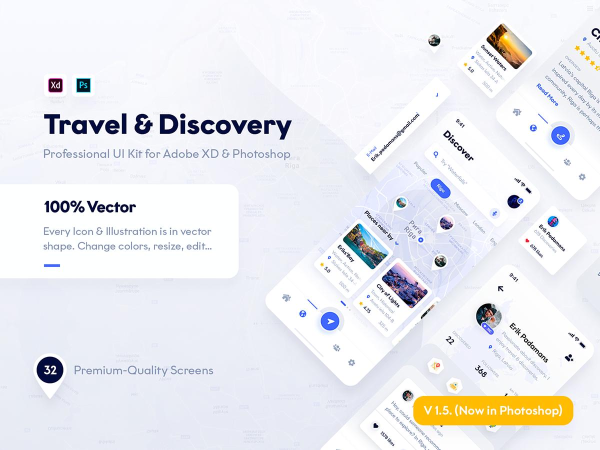 旅游与探索UI设计地图类APP设计Travel & Discovery UI Kit for [XD、PSD]