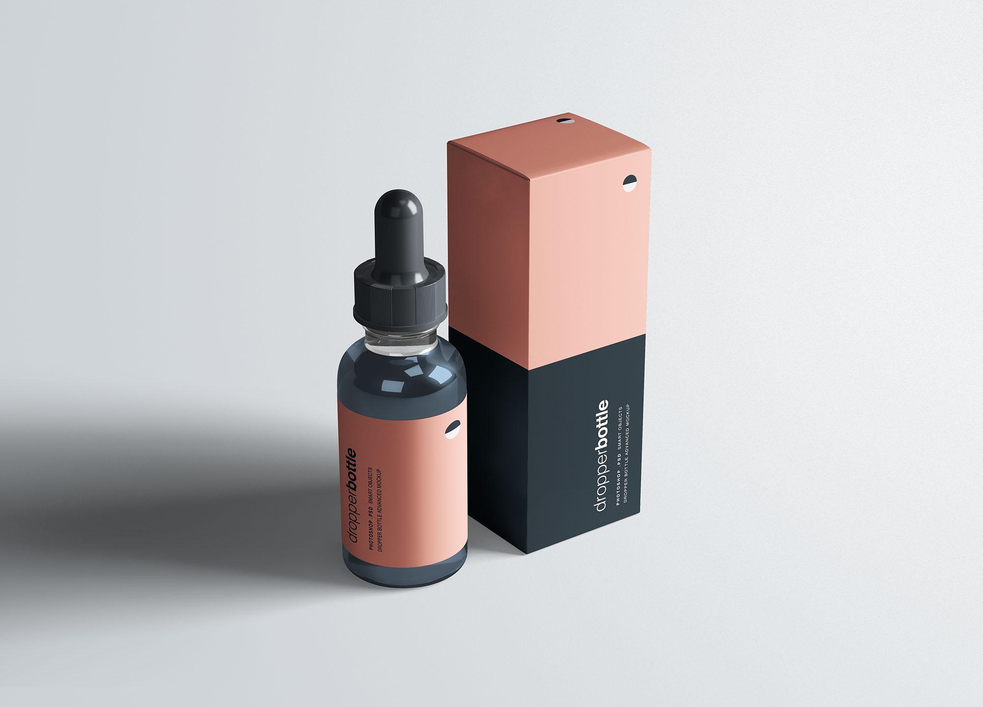 多角度滴管瓶样式洗化用品包装设计样机展示mockups