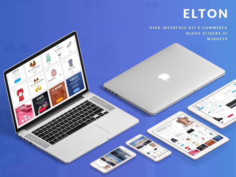 现代简约时尚潮流购物网页平台 UI WEB kit EltonUiKit
