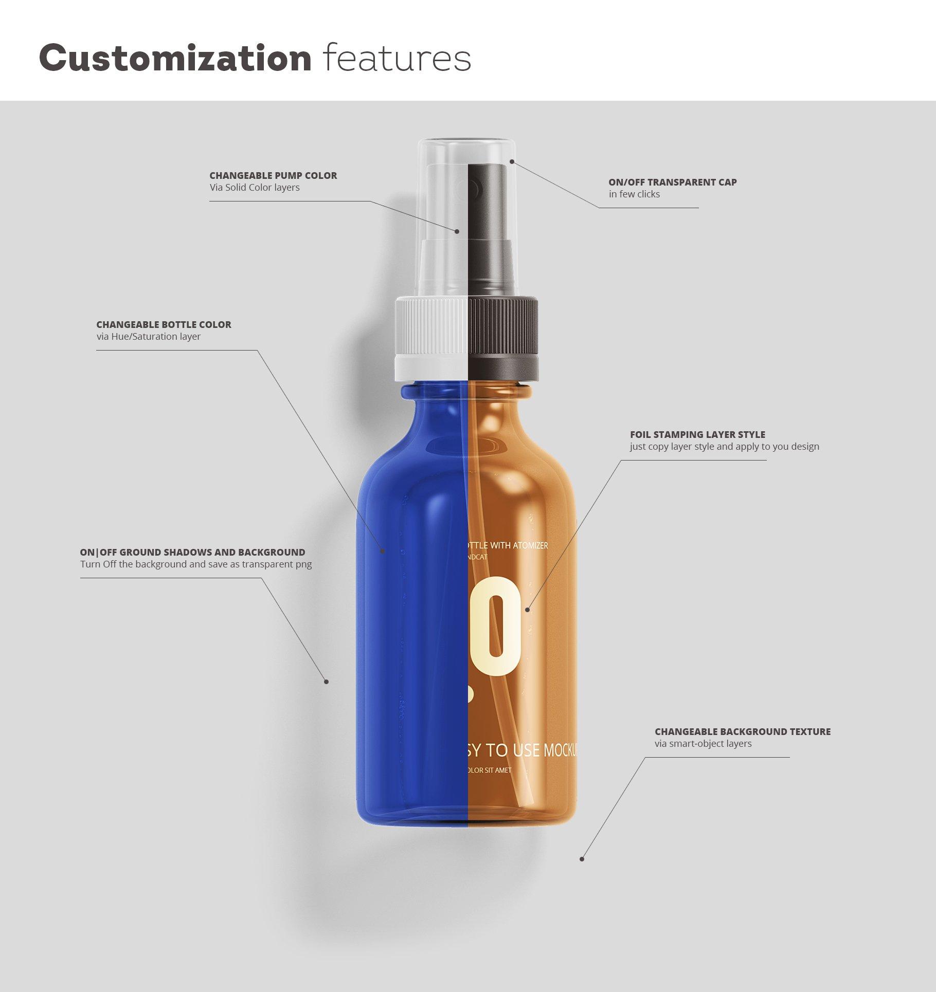 护肤品药品包装瓶子化妆品喷雾塑料瓶展示样机 Spray Bottles Mockup