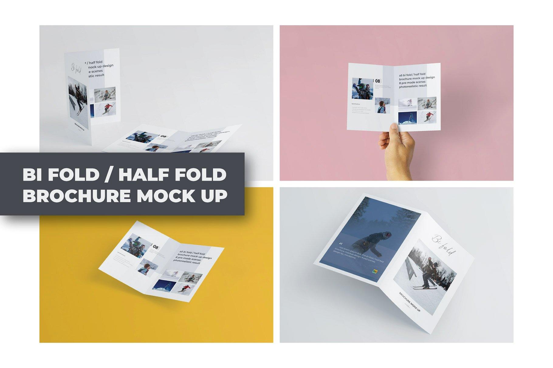 企业介绍三折页展示样机 A5 Bifold Half-Fold Brochure Mockup