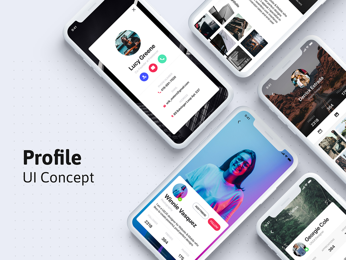 一套扁平化个人信息APP Profile UI app template