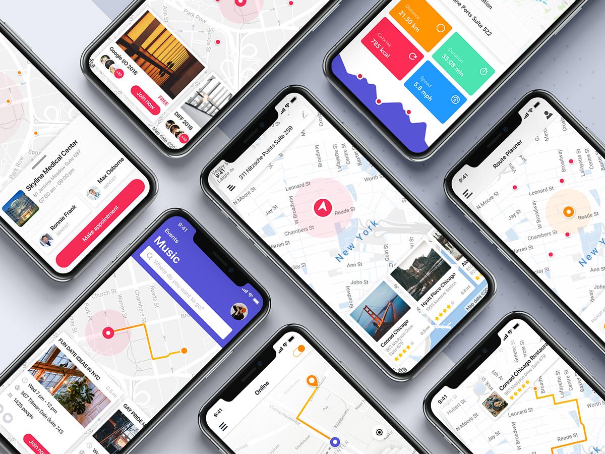 扁平化地图行业APP Maps UI template for mobile app