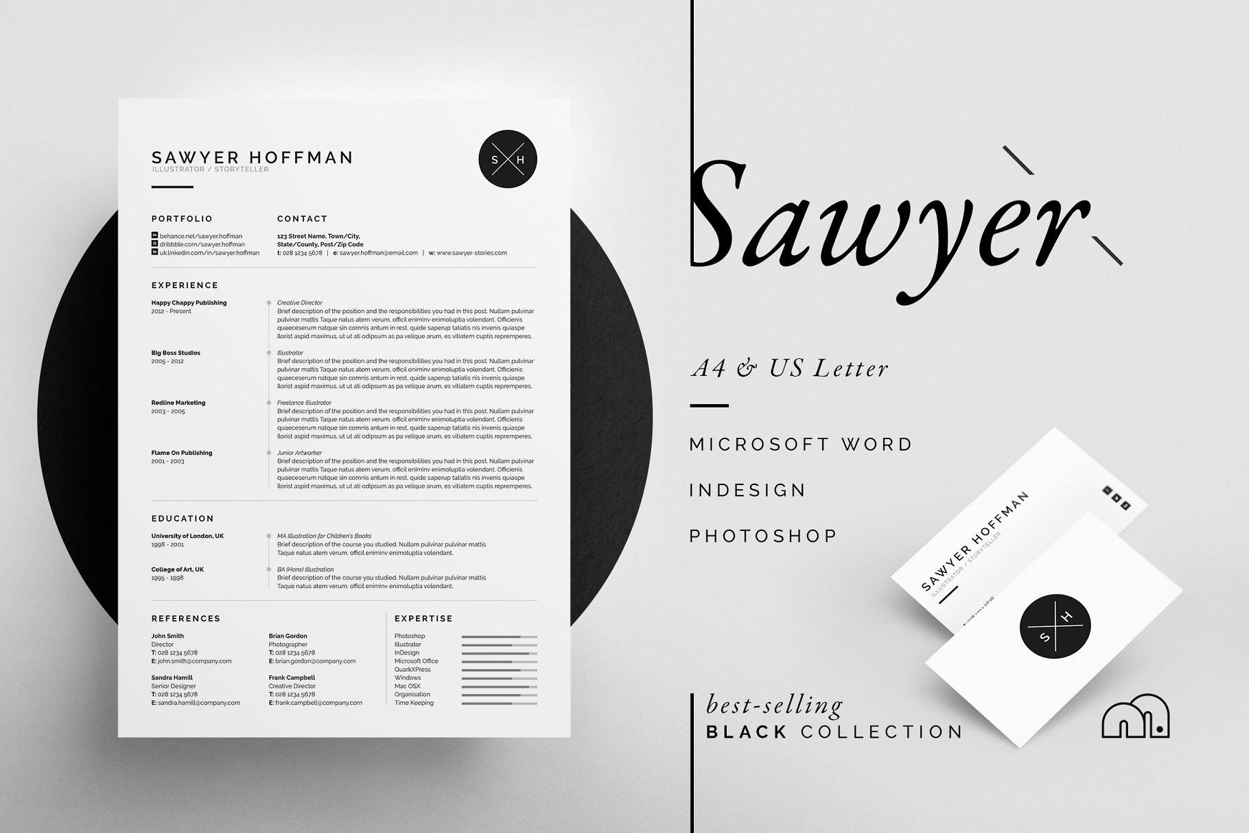 时尚极简主义简历模板 Sawyer – Resume/CV