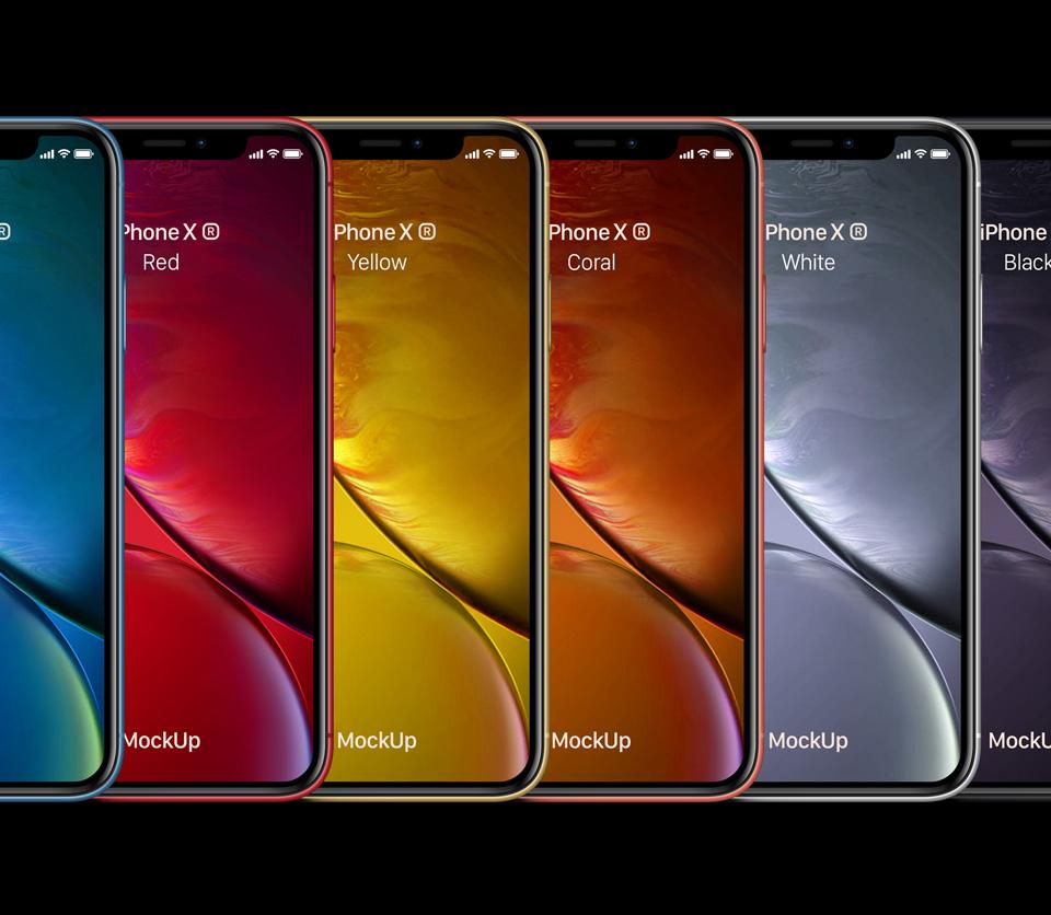 展示手机样机iPhone-XR-all-colors-Mockup样机