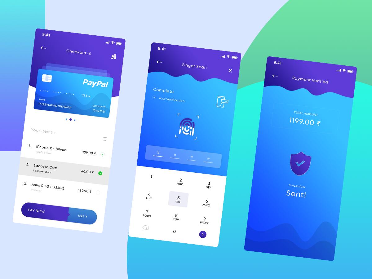 银行卡安全验证展示UI界面 蓝色APP A Payment App