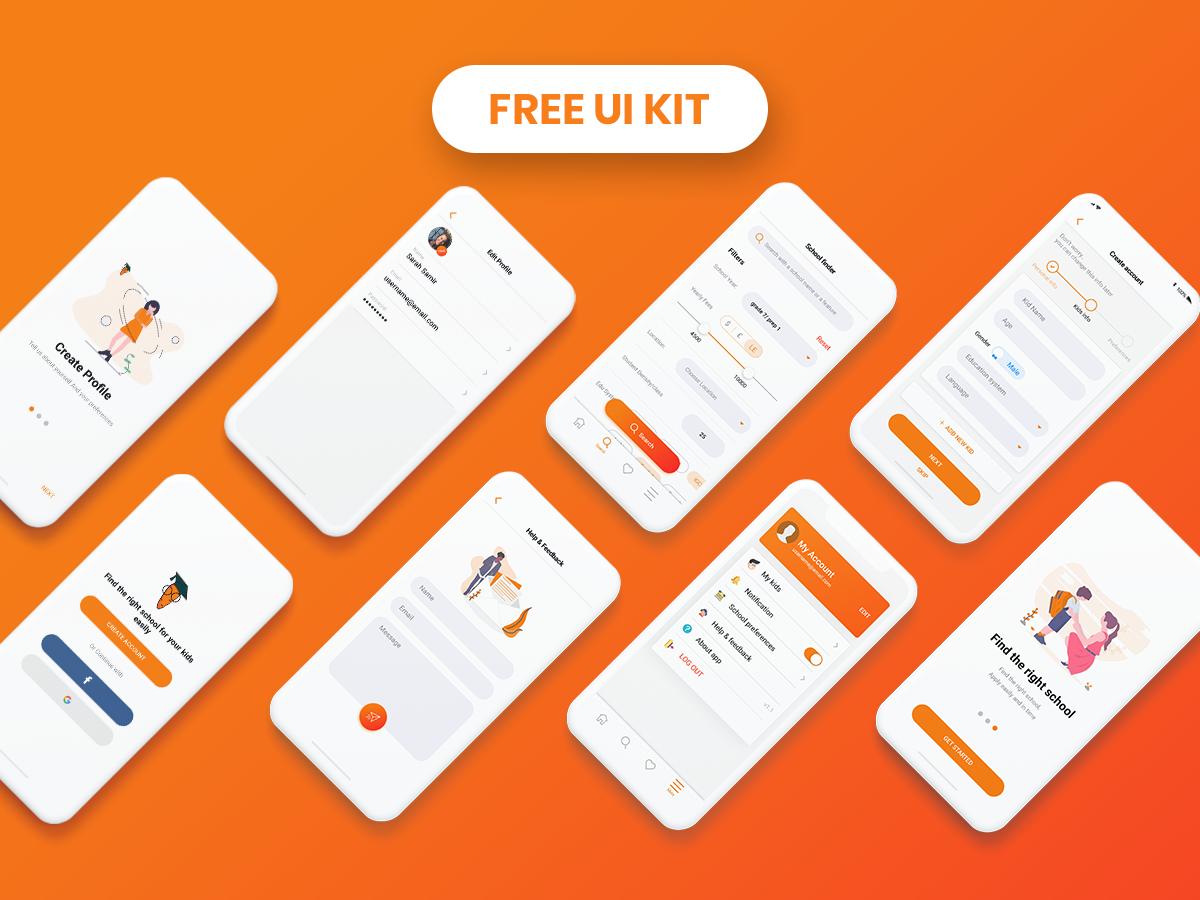 学习类教育APP UI界面设计 School Finder App - UI kit