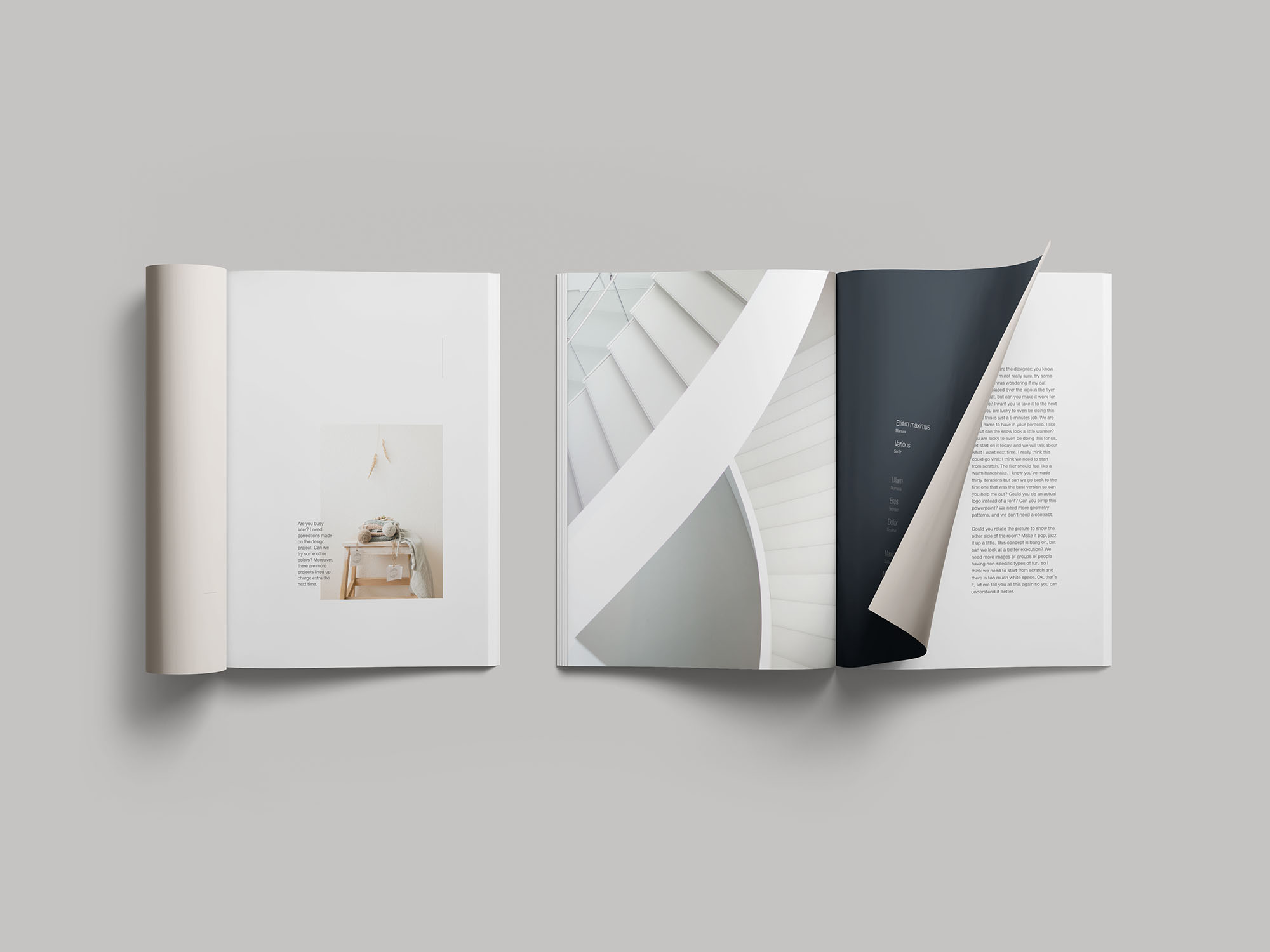 生活场景类画册杂志展示样机 Simple Magazine Mockup