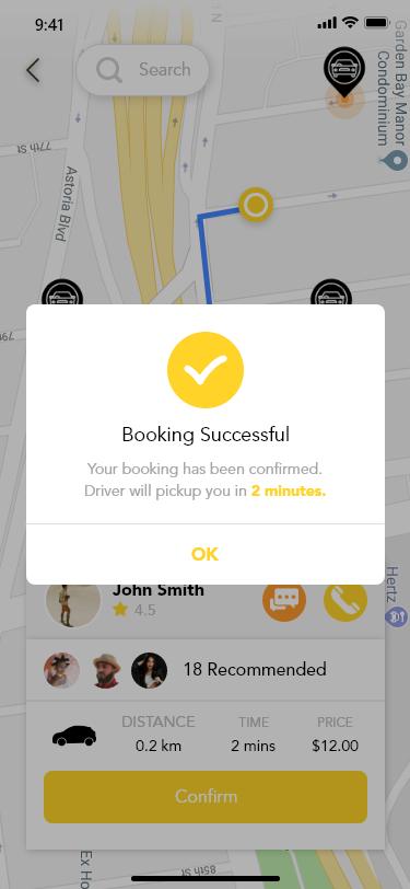 一组黄色扁平化出行APP Pick Up Taxi Driver Flow Concept