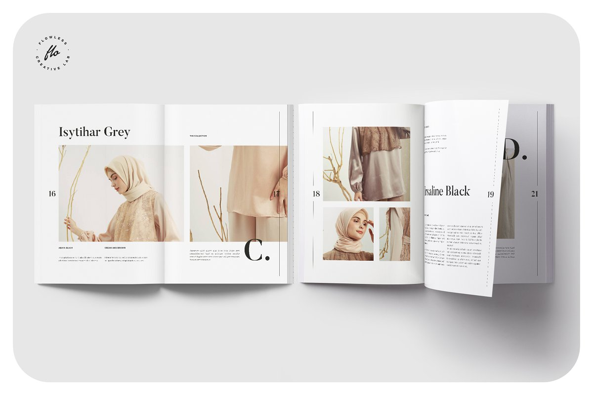 时尚服装产品画册杂展示模板