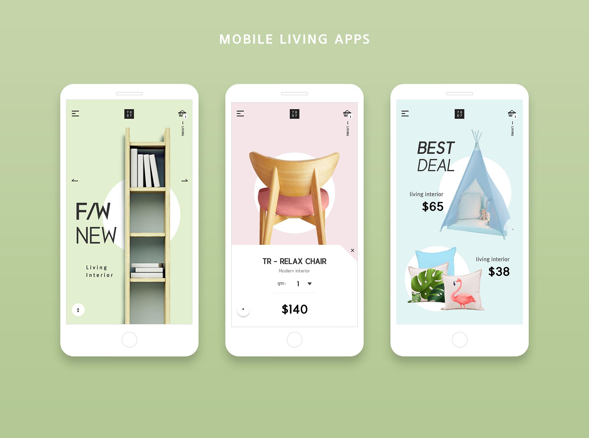 简约风UI Home Mobile Living App-设计石代