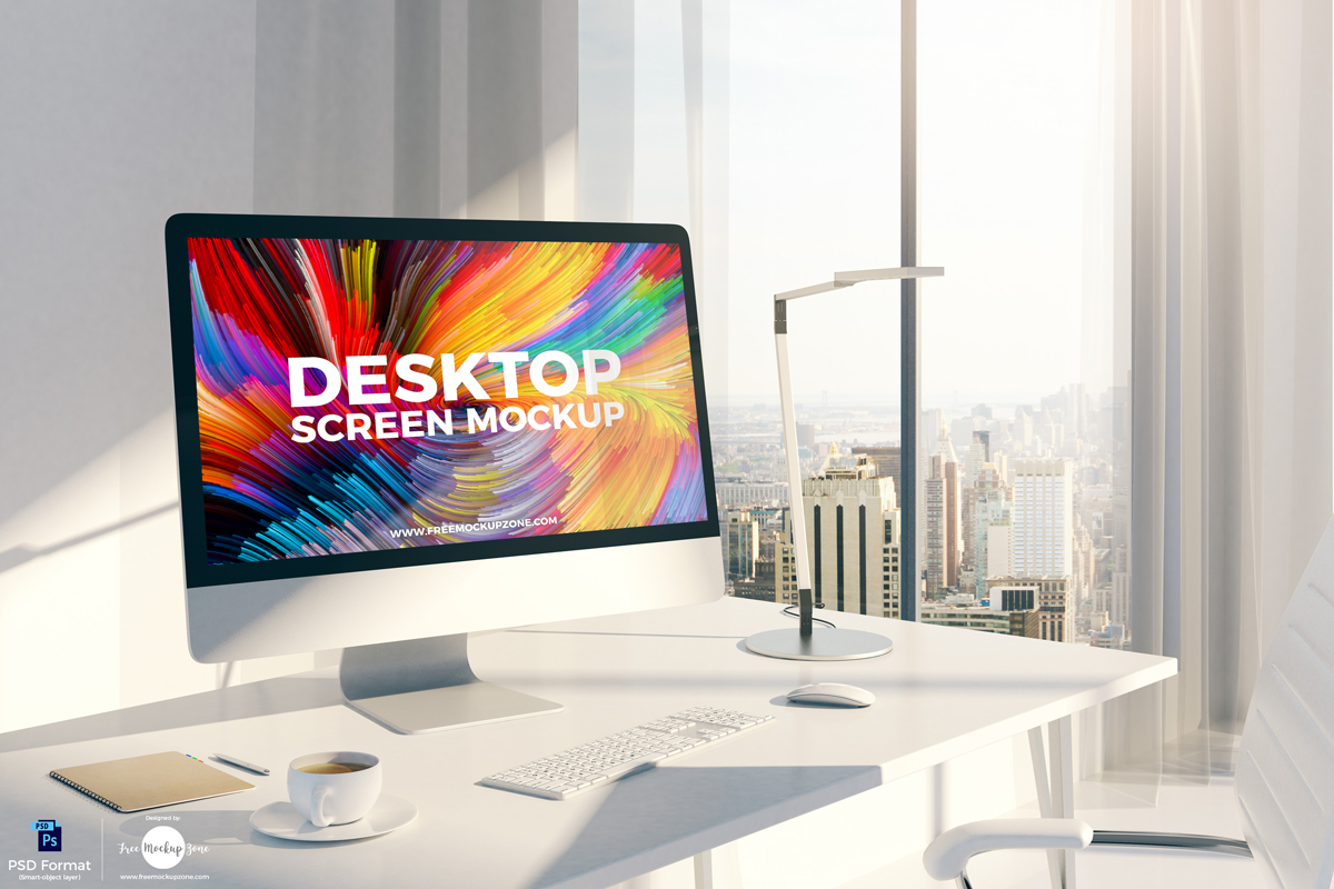 苹果MAC效果展示样机 Free Designer Desktop Screen Mockup
