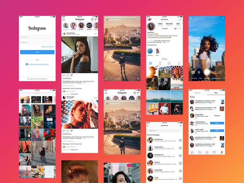 一组扁平化风格APP Instagram 11 most important screens for prototyping