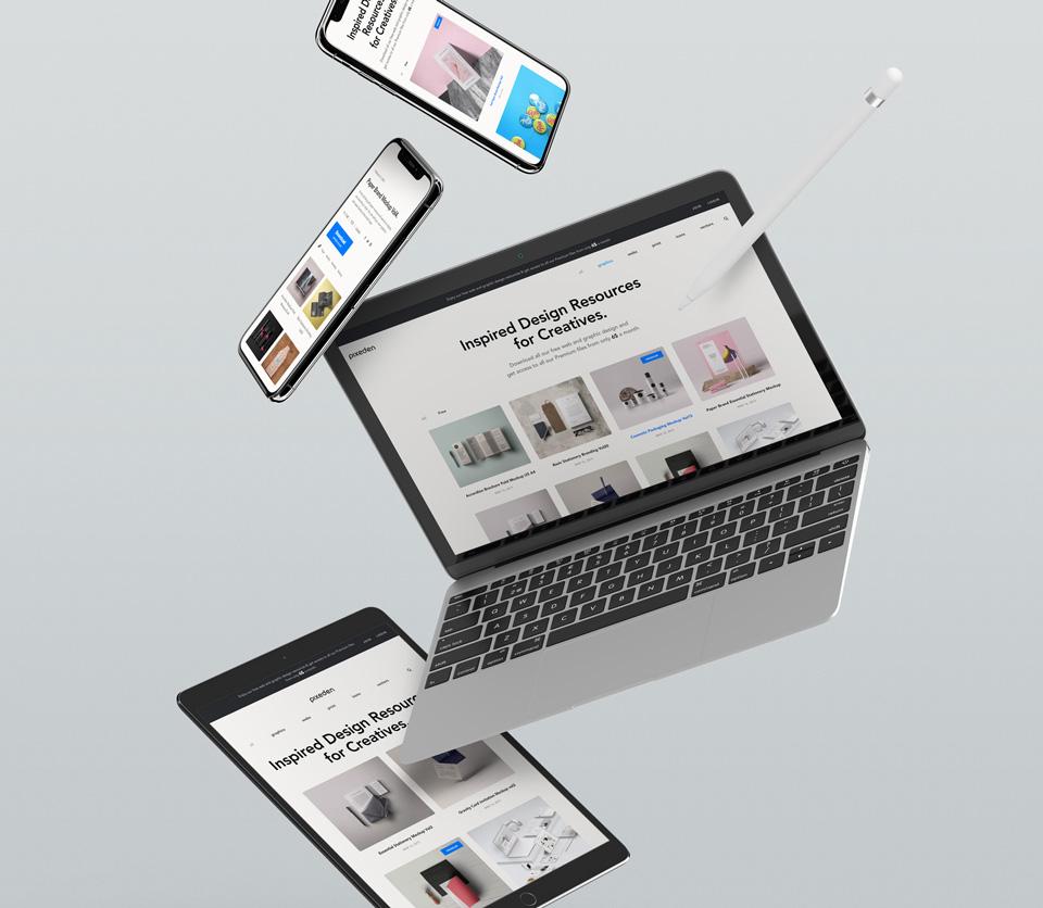 苹果设备展示样机PSD智能贴图模板 Gravity Psd Devices UI Mockup Set