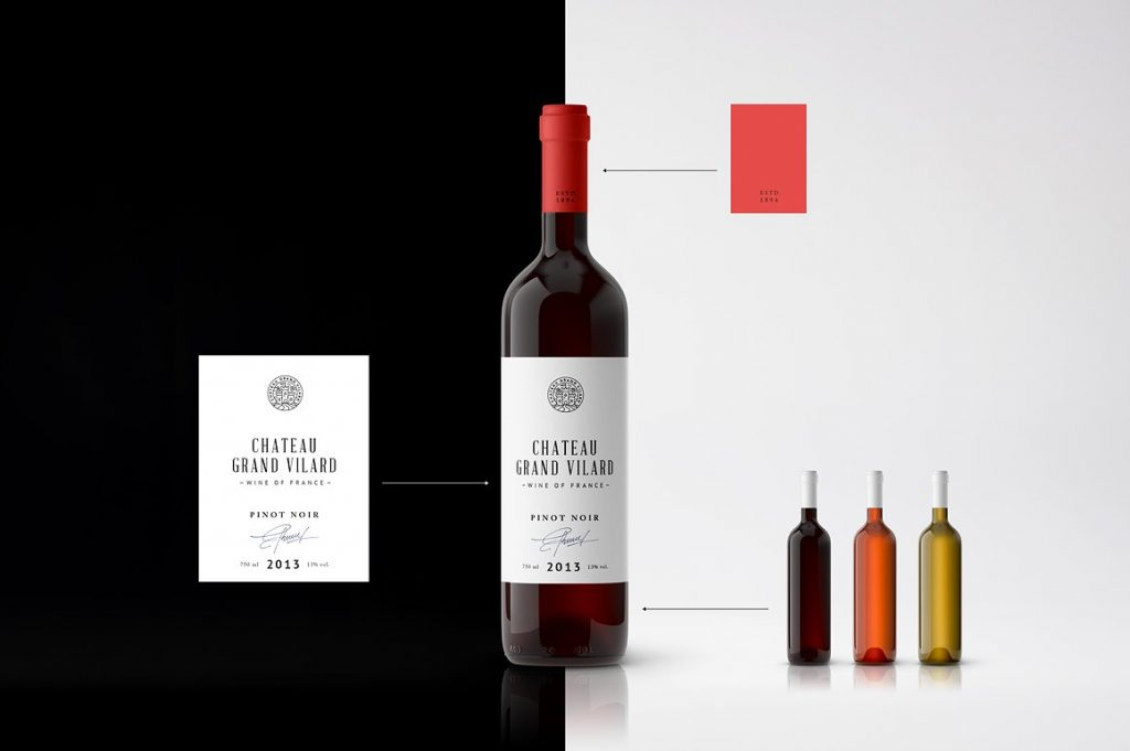 高端葡萄酒瓶贴品牌设计提案展示样机 Wine Packaging Mockups