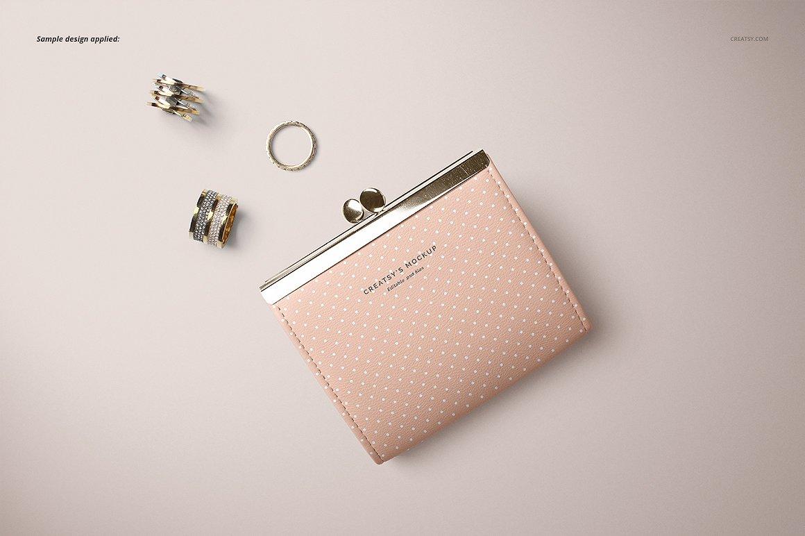 女士时尚皮革钱包cm 2511621 Leather Wallet Purse Mockup Set