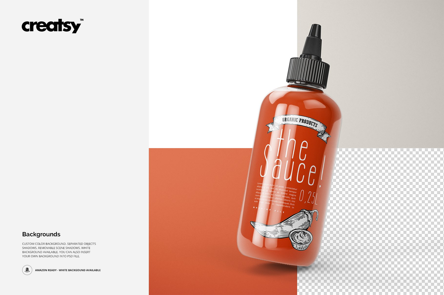 番茄酱展示样机 Sauce Bottle Mockup Set
