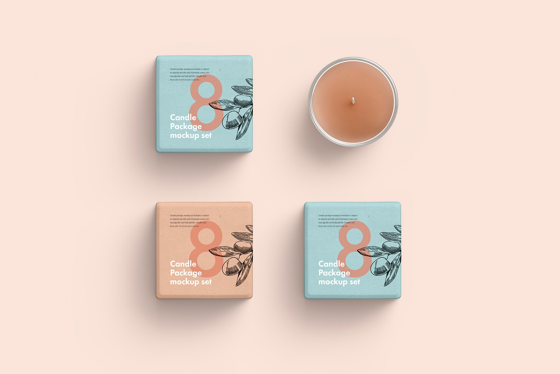 粉色系香薰玻璃杯包装展示样机 Candle Glass And Box Packaging