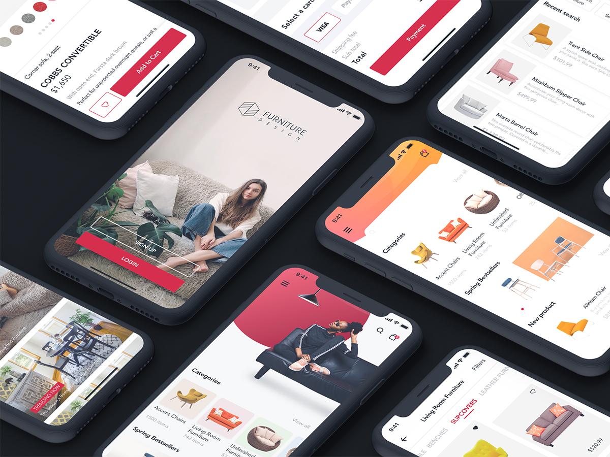 一套扁平化家具电子商务APP界面 E-commerce App Interface for Furniture