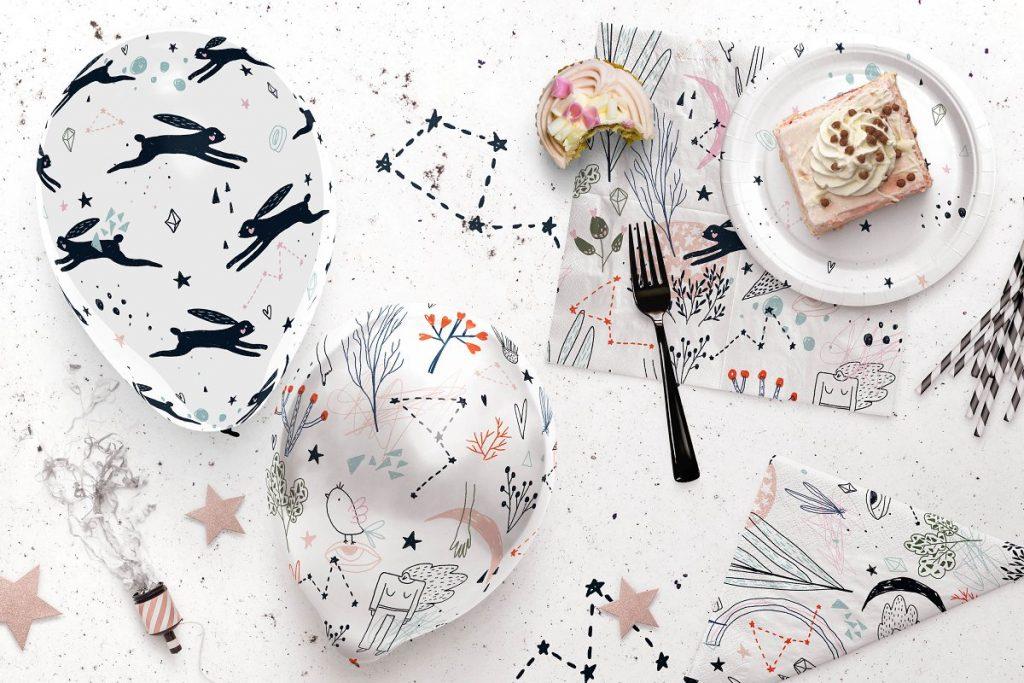 黑兔创意插画素材背景图案Black Rabbit | Patterns